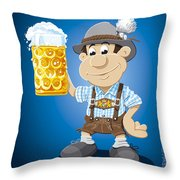 Beer Stein Lederhosen Oktoberfest Cartoon Man Throw Pillow