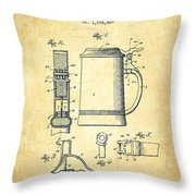 Beer Stein Patent From 1914 -vintage Throw Pillow by Aged Pixel