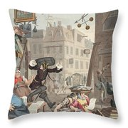 Beer Street, Illustration From Hogarth Throw Pillow
