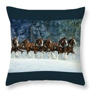 Clydesdales 8 Hitch On A Snowy Day Throw Pillow