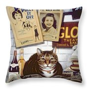 Beerbohm, The Theatre Cat Oil & Tempera On Panel Throw Pillow