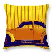 Beetle Pop Gold Throw Pillow