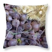 Beets And Mini Onions At The Market Throw Pillow