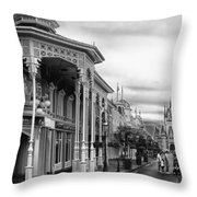 Before The Gates Open In Black And White Walt Disney World Throw Pillow