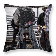 Before The Ride Throw Pillow by Amber Kresge