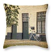 Begijnhof Bicycle Throw Pillow