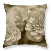 Begonias In Sepia Throw Pillow