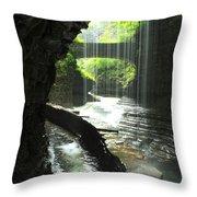 Behind Rainbow Falls Throw Pillow
