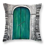 Behind The Green Door Throw Pillow