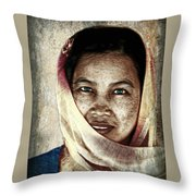 Behind The Scarf Throw Pillow
