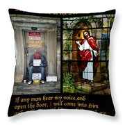 Behold I Stand At The Door And Knock Composite Throw Pillow