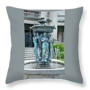 Beiger Mansion Fountain  Mishawaka Indiana Throw Pillow