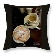 New Orleans Beignets And Coffee Au Lait  Throw Pillow