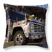 Bejeweled Bus Throw Pillow