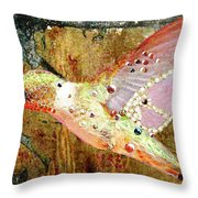 Bejeweled Hummingbird Throw Pillow