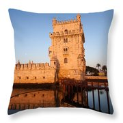 Belem Tower At Sunrise In Lisbon Throw Pillow