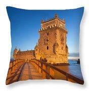 Belem Tower In Lisbon Illuminated At Night Throw Pillow