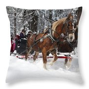 Belgian Draft Horses Pulls A Sleigh In Yosemite National Park Throw Pillow
