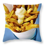 Belgian Fries With Mayonnaise On Top Throw Pillow