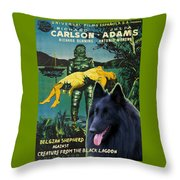 Belgian Shepherd Art Canvas Print - Creature From The Black Lagoon Movie Poster Throw Pillow