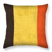 Belgium Flag Vintage Distressed Finish Throw Pillow by Design Turnpike