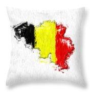 Belgium Painted Flag Map Throw Pillow