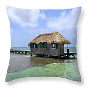 Belize Pier And Seascape Throw Pillow