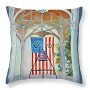 Bell And Flag Throw Pillow
