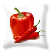 Bell Pepper With Chili Peppers Throw Pillow