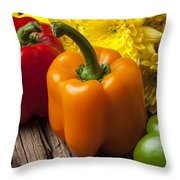Bell Peppers And Poms Throw Pillow