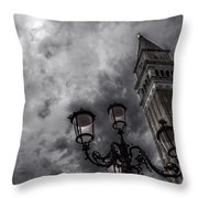 Bell Tower And Street Lamp Throw Pillow