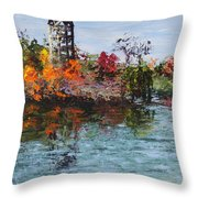 Bell Tower At The Botanic Gardens In Autumn Throw Pillow