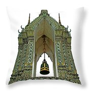 Bell Tower In Wat Po In Bangkok-thailand Throw Pillow
