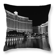 Bellagio Nights 2 Bw Throw Pillow by Jenny Hudson