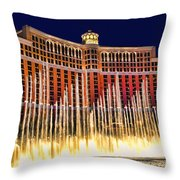 Bellagio Water Show Throw Pillow