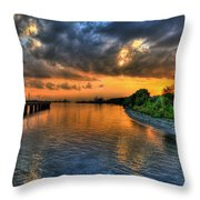 Belle Isle Pier Sunset Detroit Mi Throw Pillow