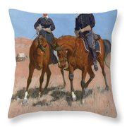 Belle Mckeever And Lt Edgar Wheelock Throw Pillow by Frederic Remington