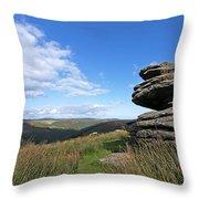 Bellever Tor On Dartmoor Throw Pillow