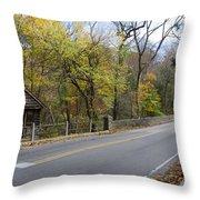 Bells Mill Road In Autumn Throw Pillow