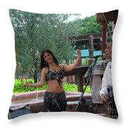 Belly Dancer And Performer At Morocco Pavilion Throw Pillow