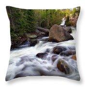 Below Alberta Falls Throw Pillow