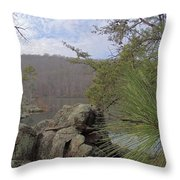 Below Badin Dam Throw Pillow