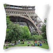 Below The Eiffel Tower Throw Pillow