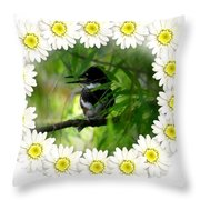 Belted Kingfisher In The Midst Throw Pillow