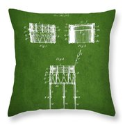 Bemis Snare Drum Patent Drawing From 1886 - Green Throw Pillow