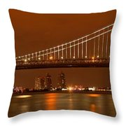 Ben Franklin Bridge Giant Panorama Throw Pillow