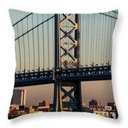 Ben Franklin Bridge Over Delaware River Throw Pillow