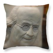 Ben Franklin Looking Out Throw Pillow by Richard Reeve