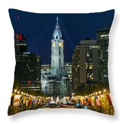 Ben Franklin Parkway And City Hall Throw Pillow