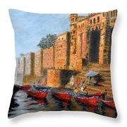 Benaras Ghats Throw Pillow